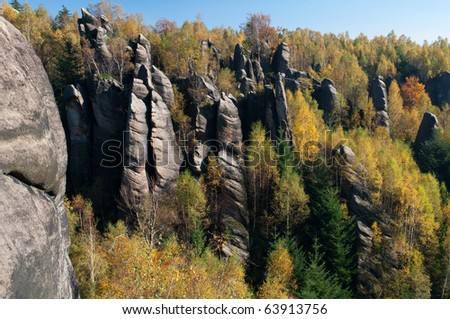 Towers in the rocky town of Adrspach in the Czech Republic. - stock photo