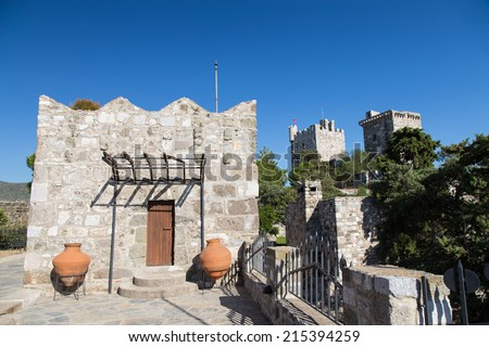 Towers of Bodrum Castle in Aegean Turkey - stock photo