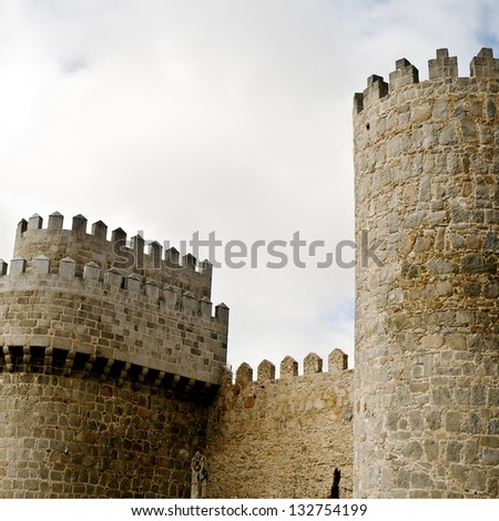 "Towers of castle Avila , ""Castilla and Leon"" , Spain - stock photo"