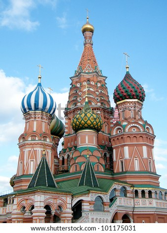 Towers of Cathedral of Basil the blessed in Moscow, Russia - stock photo