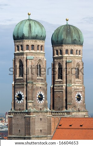 Towers of Frauenkirche Cathedral Church in Munich (Munchen), Germany. View from New Town hall (Neues Rathhaus)
