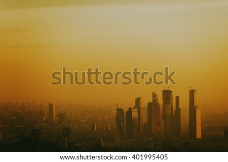 Towers of Moscow city in the evening, Sunset