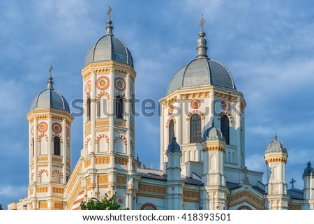 Towers of Saint Spyridon the New Church, a romanian orthodox church in Bucharest, Romania built in 1860 in gothic style with moldavian art elements and painted by romanian painter Gheorghe Tattarescu