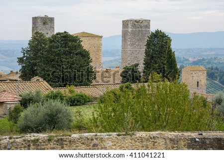 Towers of San Gimignano seen from Parco della Rocca, Tuscany, Italy