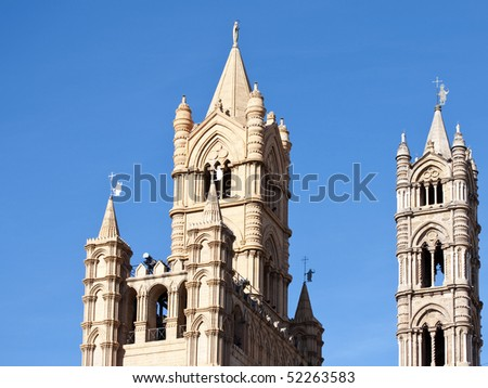 Towers of the Cathedral Palermo silhouetted against a clear sky