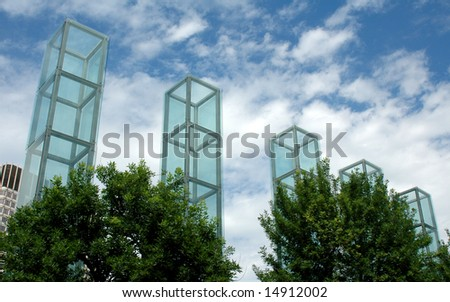 Towers of the Holocaust Memorial, Boston, MA, on a summer day