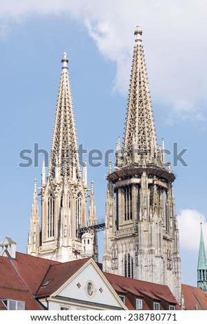 Towers of the Regensburger Dom (Cathedral of Regensburg). - stock photo