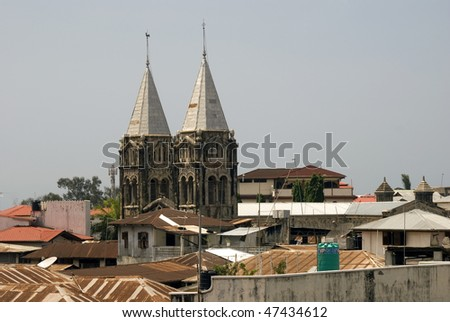 Towers of the St Joseph's Cathedral, Stone Town, Zanzibar, Tanzania - stock photo