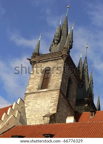 Towers of the Tyn Church in Prague (Czech Republic), gothic building - stock photo