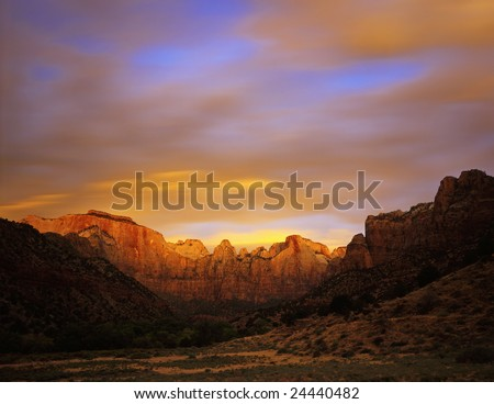 Towers Of The Virgin in Zion National Park, Utah. - stock photo