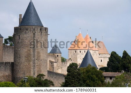 Towers of the walled town of Carcassonne, (France) - stock photo