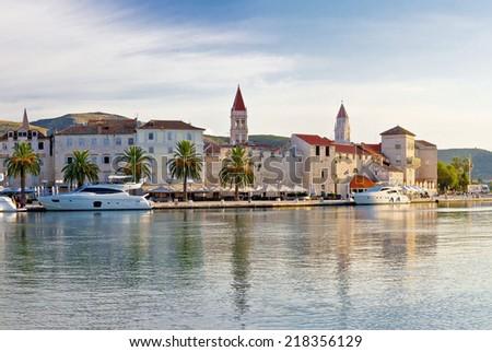 Towers of Trogir UNESCO world heritage site in Dalmatia, Croatia - stock photo