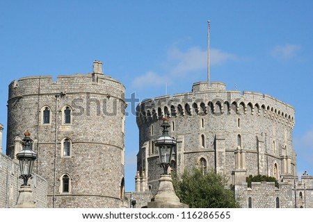 Towers of Windsor Castle - stock photo