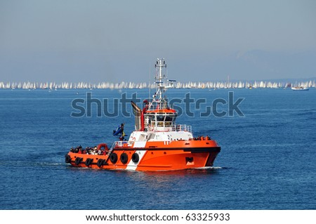 Towing boat - stock photo