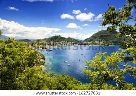 Town and bay of Terre-de-Haut, capital of Les Saintes islands, Guadeloupe archipelago, Caribbean Sea - stock photo