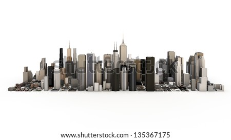 town and city - stock photo