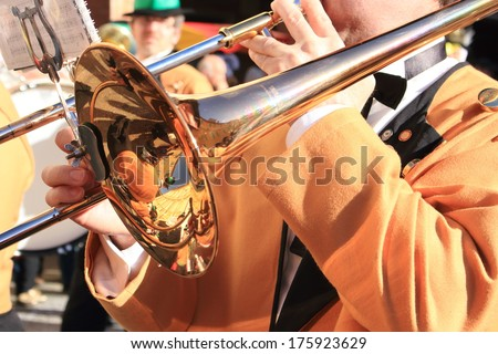 town band musicians - stock photo