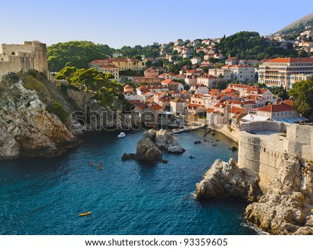 Town Dubrovnik in Croatia - architecture background - stock photo