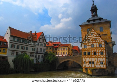 Town hall and medieval old town, Bamberg, Bavaria, Germany - stock photo