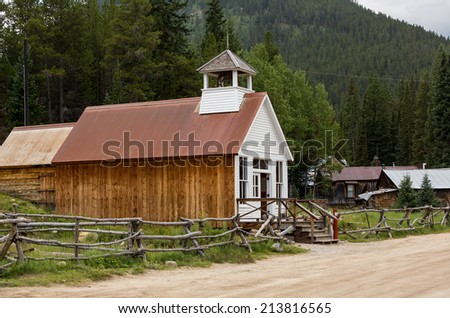 Town hall and museum rebuilt after fire in ghost town of St Elmo in Colorado - stock photo