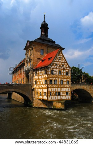 Town hall and Regnitz river, Bamberg, Bavaria, Germany - stock photo