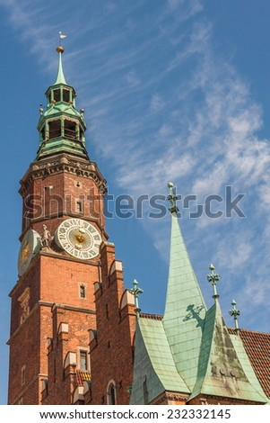 Town hall building in the Market Square (Rynek Glowny) in Wroclaw, - stock photo