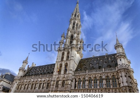 Town Hall in Brussels, It is a famous landmark. - stock photo