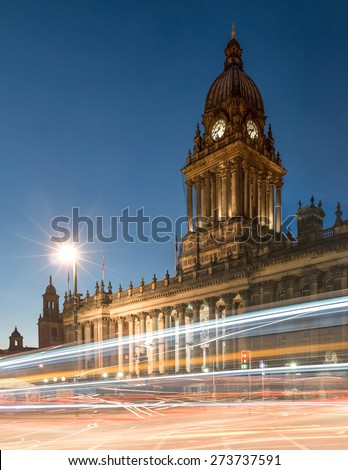 Town Hall in Leeds, West Yorkshire, UK (Twilight Shot) - stock photo