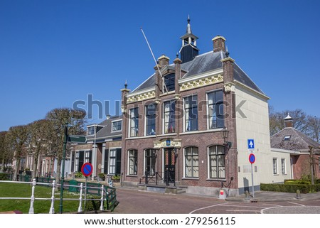 Town hall in the center of historical IJlst, Netherlands - stock photo