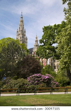 town-hall in Vienna and park