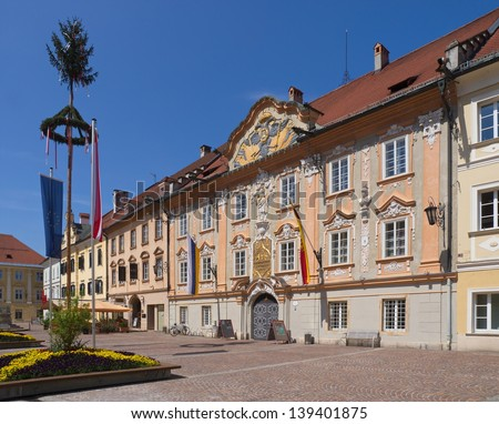 Town hall of St. Veit/ Glan in Carinthia with maypole
