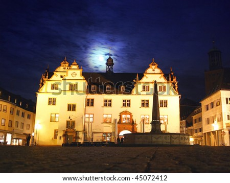 Town hall of the german city Darmstadt with moonlight