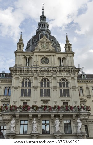 Town hall or Rathaus facade in Graz, Austria