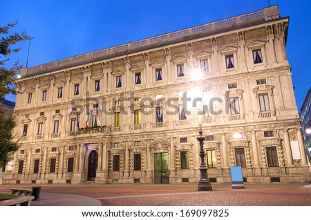 Town hall Palazzo Marino,seat of  municipality of Milan - stock photo