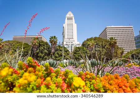 Town hall view with flowers in LA downtown, USA - stock photo