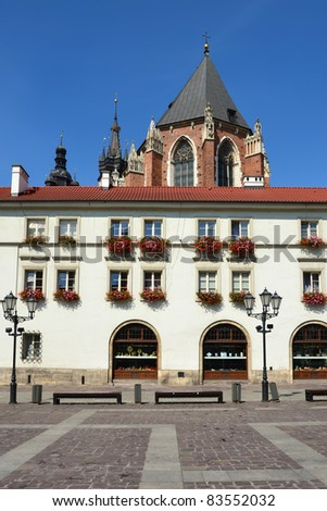 Town house on small square of old town in Krakow - stock photo