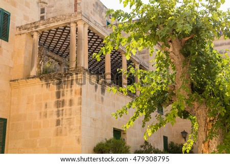 Town House with Beautiful trellised balcony in Pjazza Mesquita, Mdina, Malta.