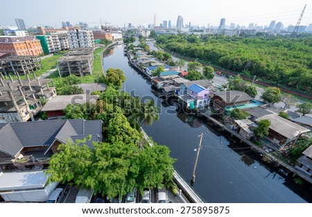 Town in Bangkok beside River in Thailand - stock photo