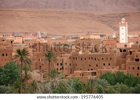 Town in Dades Valley, Morocco - stock photo