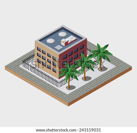 Town in isometric view with the landscape - stock photo