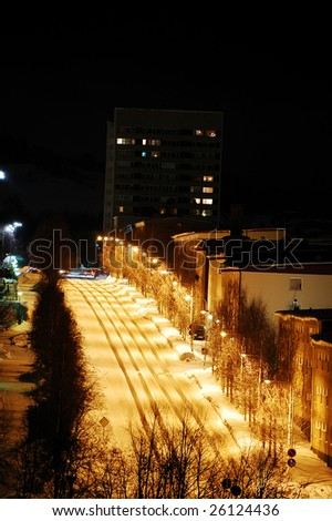town in north sweden - stock photo