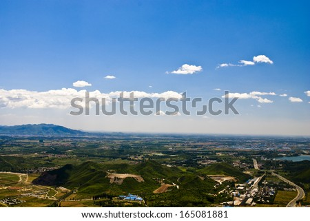 town in plain - stock photo