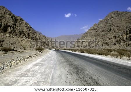 town in the mountains of ras al khaimah united arab emirates - stock photo