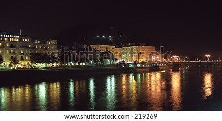 Town in the night - stock photo
