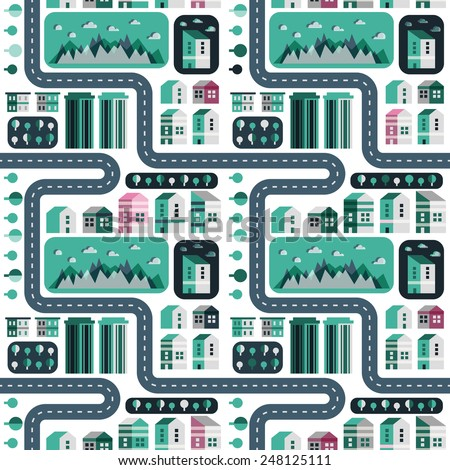 Town infographic elements. City elements. Seamless pattern