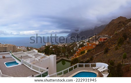 Town Los Gigantes at Tenerife island - Canary Spain - stock photo