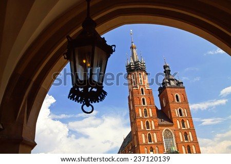 Town market Sukiennice and Saint Mary Basilica - stock photo