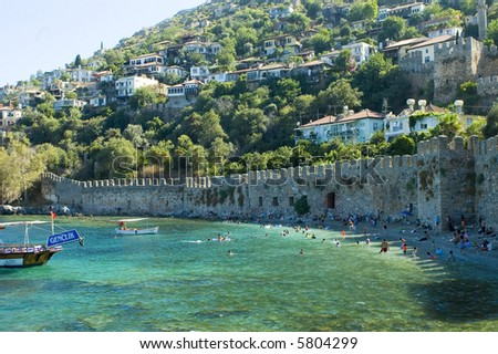 Town near the shore in Turkey - stock photo