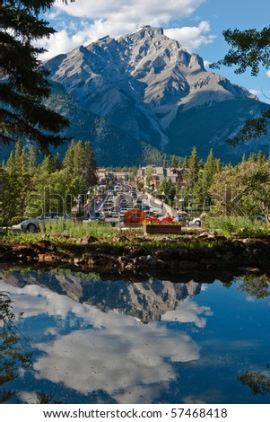 Town of Banff, Banff National Park, Alberta, Canada - stock photo