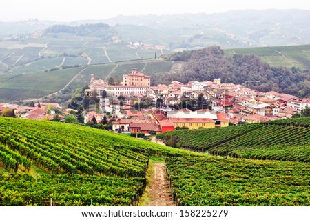 Town of Barolo in Langhe with its vineyards on the foreground. Piedmont. Italy.
